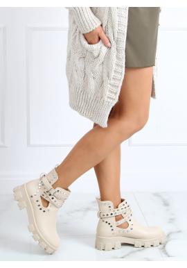 Štýlové dámske topánky béžovej farby s vybíjaním