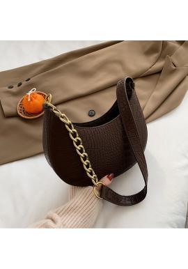 Hnedá elegantná kabelka z ekokože pre dámy