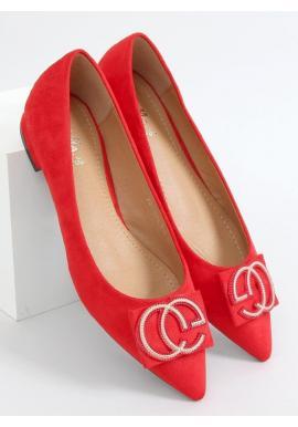 Dámske elegantné balerínky s ozdobou v červenej farbe