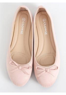 Dámske semišové balerínky s mašľou v ružovej farbe