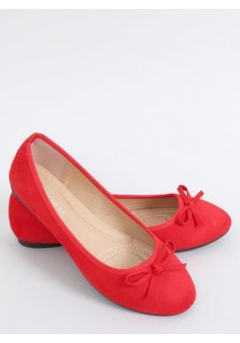 Červené semišové balerínky s mašľou pre dámy
