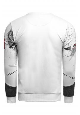 Módna pánska mikina bielo-čiernej farby s potlačou