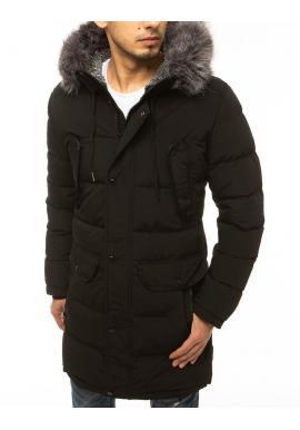 Pánska dlhá bunda na zimu v čiernej farbe