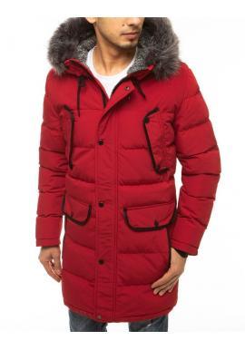 Dlhá pánska bunda červenej farby na zimu