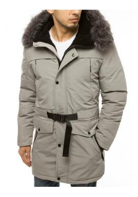 Svetlosivá zimná bunda s dlhším strihom pre pánov