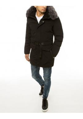 Pánske zimné bundy s dlhším strihom v čiernej farbe