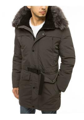 Zimná pánska bunda tmavosivej farby s dlhším strihom