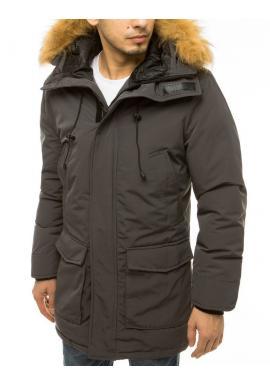 Pánska zimná bunda s kapucňou v tmavosivej farbe