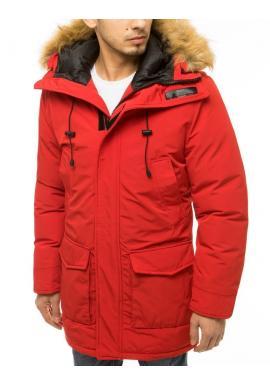 Zimná pánska bunda červenej farby s kapucňou