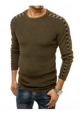 Kaki módny sveter so vzorovanými rukávmi pre pánov