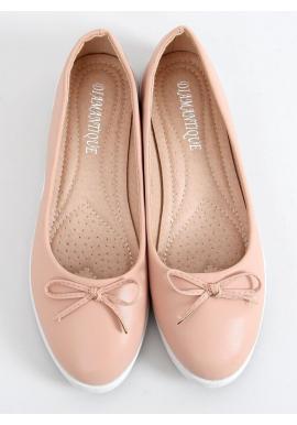 Dámske pohodlné balerínky s mašľou v béžovo-ružovej farbe