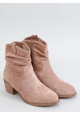 Béžovo-ružové krátke čižmy na nízkom podpätku pre dámy