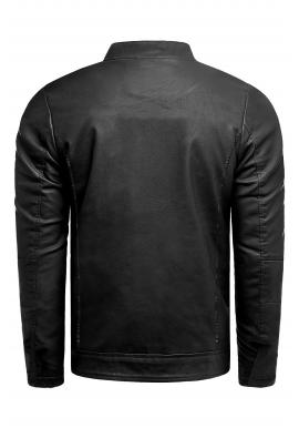 Kožená pánska bunda čiernej farby na jar