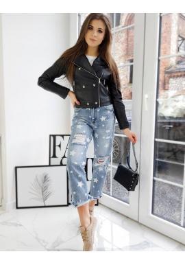 Koženková dámska bunda čiernej farby s prešívaním