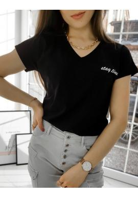 Dámske bavlnené tričko s malým nápisom v čiernej farbe