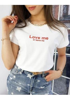 Biele klasické tričká s malým nápisom pre dámy