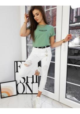 Dámske klasické tričko s malým nápisom v zelenej farbe
