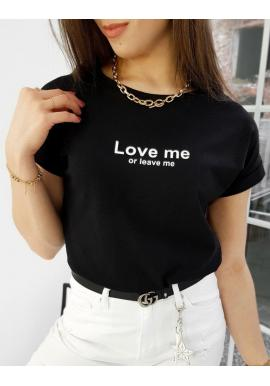 Čierne klasické tričko s malým nápisom pre dámy