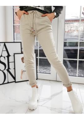 Športové dámske nohavice béžovej farby s vyšším pásom