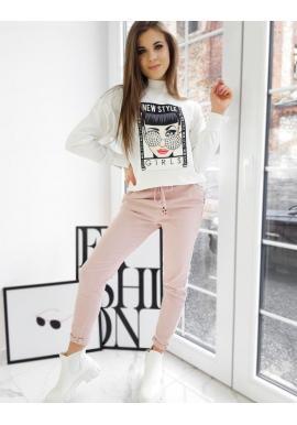Dámske športové nohavice s vyšším pásom v ružovej farbe
