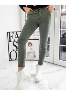 Športové dámske nohavice olivovej farby s vyšším pásom