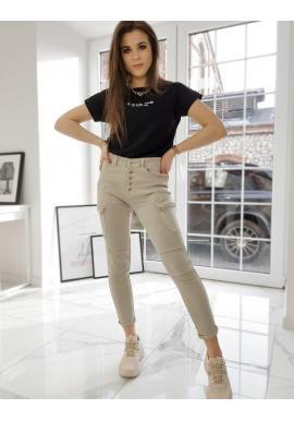 Dámske štýlové nohavice s vysokým pásom v béžovej farbe