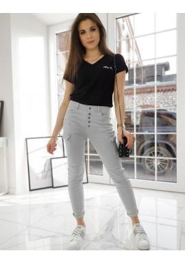 Svetlosivé štýlové nohavice s vysokým pásom pre dámy