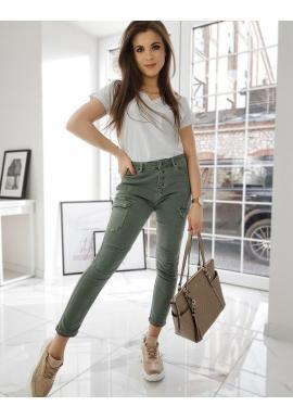 Štýlové dámske nohavice olivovej farby s vysokým pásom