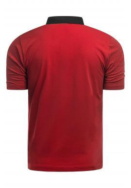 Pánska priliehavá polokošeľa s tromi gombíkmi v červenej farbe