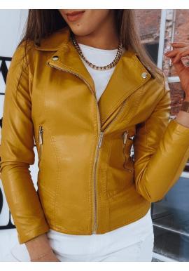 Žltá kožená bunda s prešívaním pre dámy