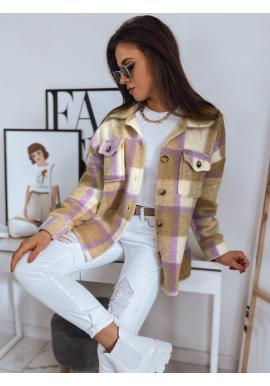 Béžovo-fialová hrubá košeľa s kockovaným vzorom pre dámy