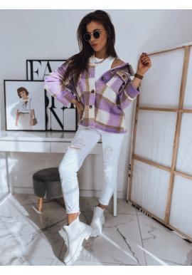 Hrubá dámska košeľa fialovej farby s kockovaným vzorom
