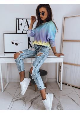 Oversize dámsky sveter s farebným motívom