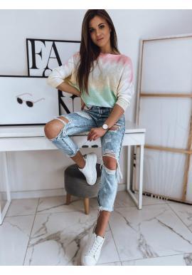 Dámsky oversize sveter s farebným motívom