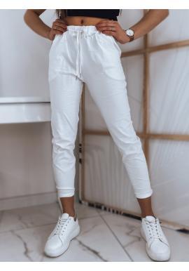 Biele pohodlné nohavice s viazaním v páse pre dámy