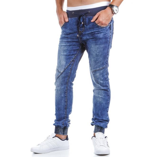 Štýlové športové nohavice modrej farby pre pánov
