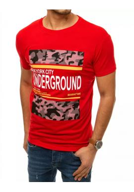 Pánske športové tričko s potlačou v červenej farbe