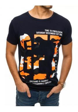 Klasické pánske tričko tmavomodrej farby s krátkym rukávom