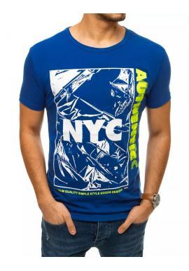 Modré módne tričko s potlačou pre pánov
