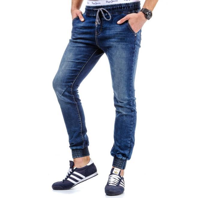 Klasické športové nohavice modrej farby pre pánov