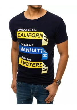 Pánske módne tričká s potlačou v tmavomodrej farbe