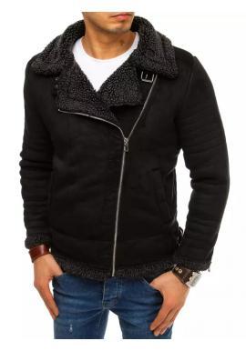 Čierna semišová bunda na zimu pre pánov