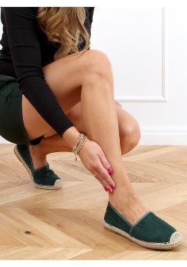 Semišové dámske espadrilky zelenej farby s dierkovanou textúrou