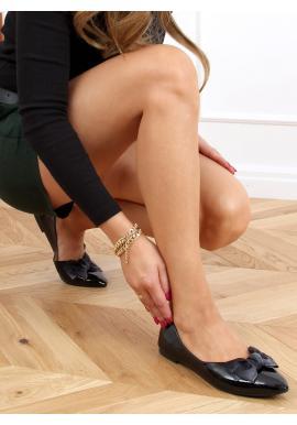 Lakované dámske balerínky čiernej farby s mašľou