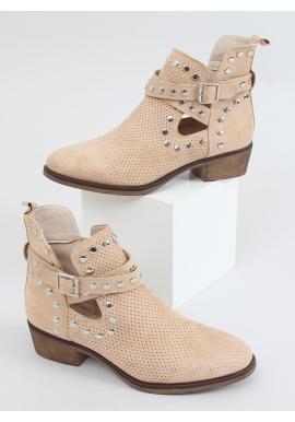 Semišové dámske topánky béžovej farby s vybíjaním