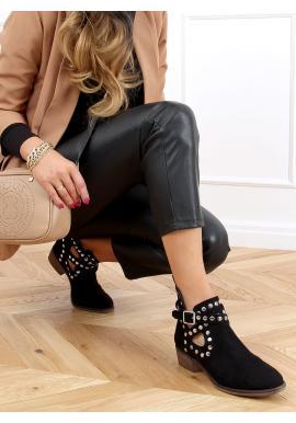 Čierne semišové topánky s vybíjaním pre dámy