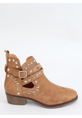 Dámske semišové topánky s vybíjaním v hnedej farbe