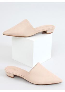 Semišové dámske šľapky béžovej farby so špicatými špičkami