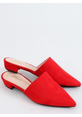 Červené semišové šľapky so špicatými špičkami pre dámy