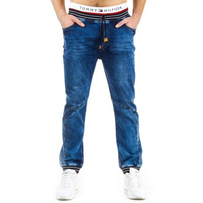 Tmavomodré športové nohavice s farebnými detailami